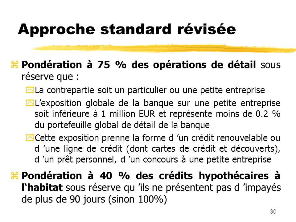 30 Approche standard révisée zPondération à 75 % des opérations de détail sous réserve que : yLa contrepartie soit un particulier ou une petite entrep