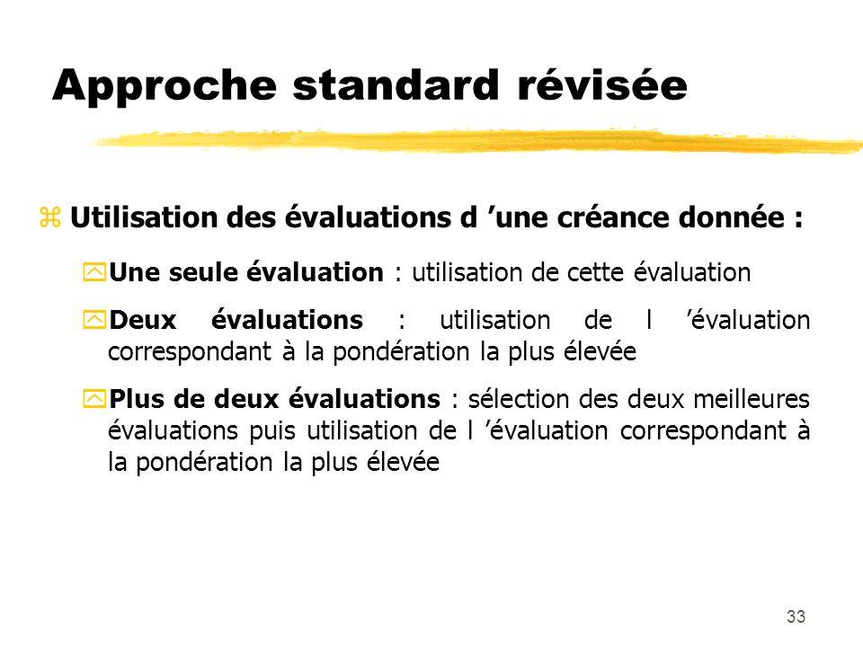 33 Approche standard révisée zUtilisation des évaluations d une créance donnée : yUne seule évaluation : utilisation de cette évaluation yDeux évaluat