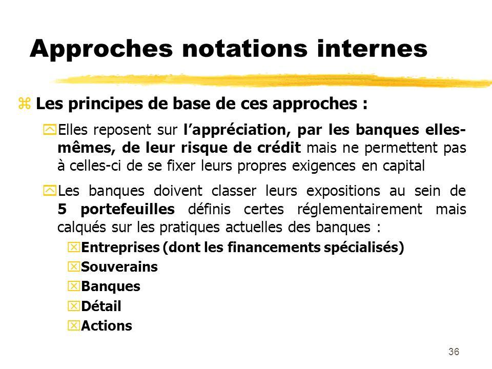 36 Approches notations internes zLes principes de base de ces approches : yElles reposent sur lappréciation, par les banques elles- mêmes, de leur ris