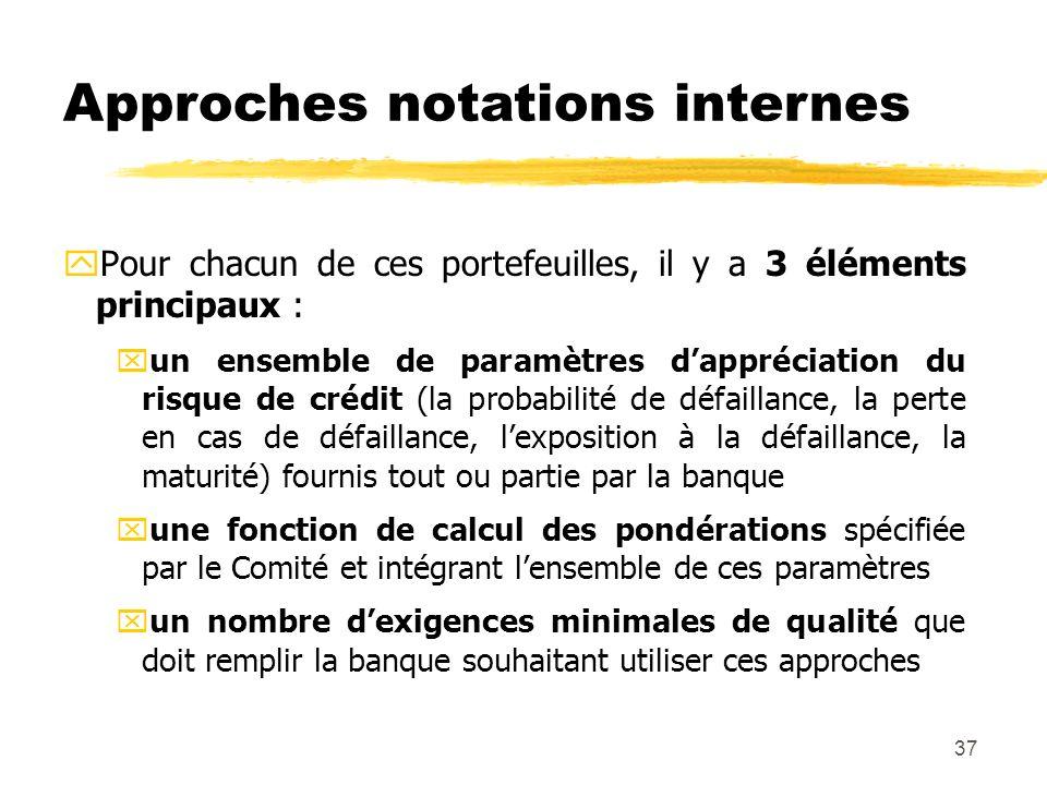 37 Approches notations internes yPour chacun de ces portefeuilles, il y a 3 éléments principaux : xun ensemble de paramètres dappréciation du risque d