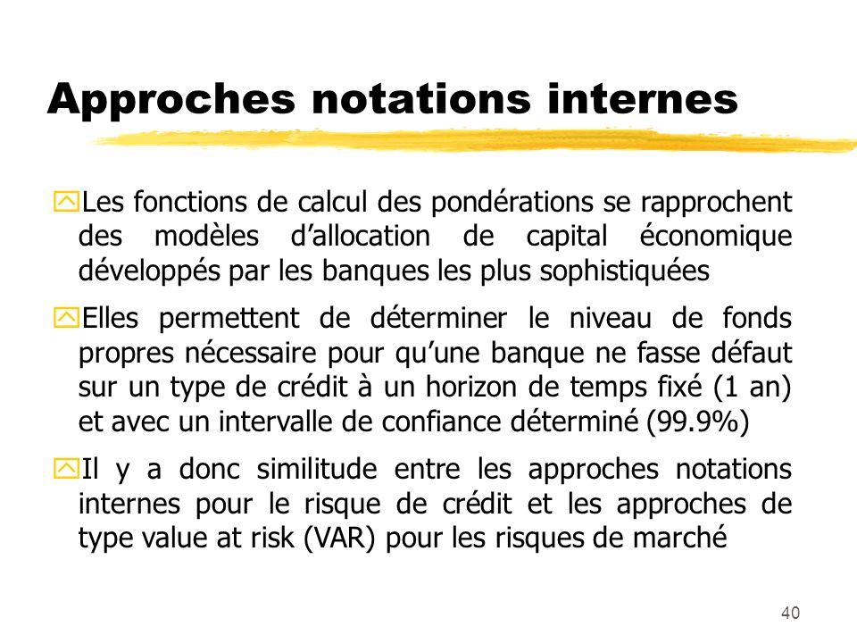 40 Approches notations internes yLes fonctions de calcul des pondérations se rapprochent des modèles dallocation de capital économique développés par