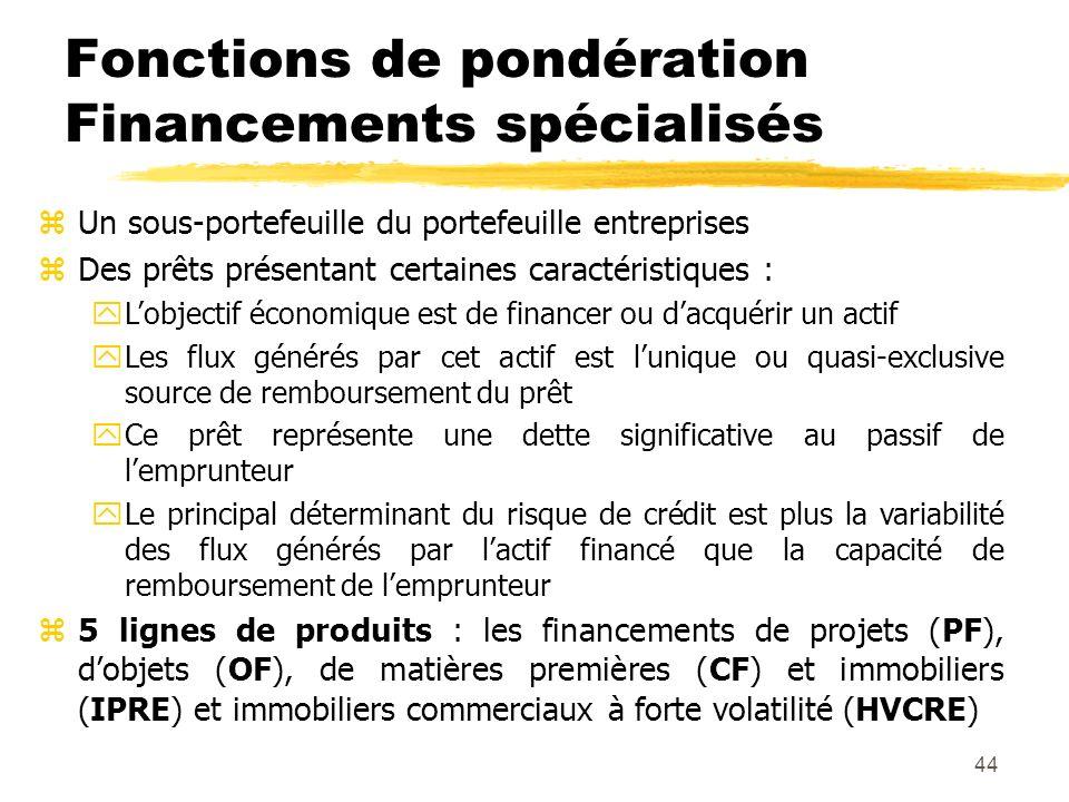 44 Fonctions de pondération Financements spécialisés zUn sous-portefeuille du portefeuille entreprises zDes prêts présentant certaines caractéristique