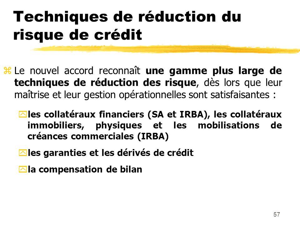 57 Techniques de réduction du risque de crédit zLe nouvel accord reconnaît une gamme plus large de techniques de réduction des risque, dès lors que le