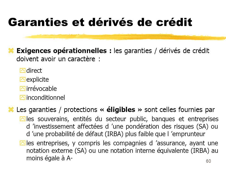 60 Garanties et dérivés de crédit zExigences opérationnelles : les garanties / dérivés de crédit doivent avoir un caractère : ydirect yexplicite yirré