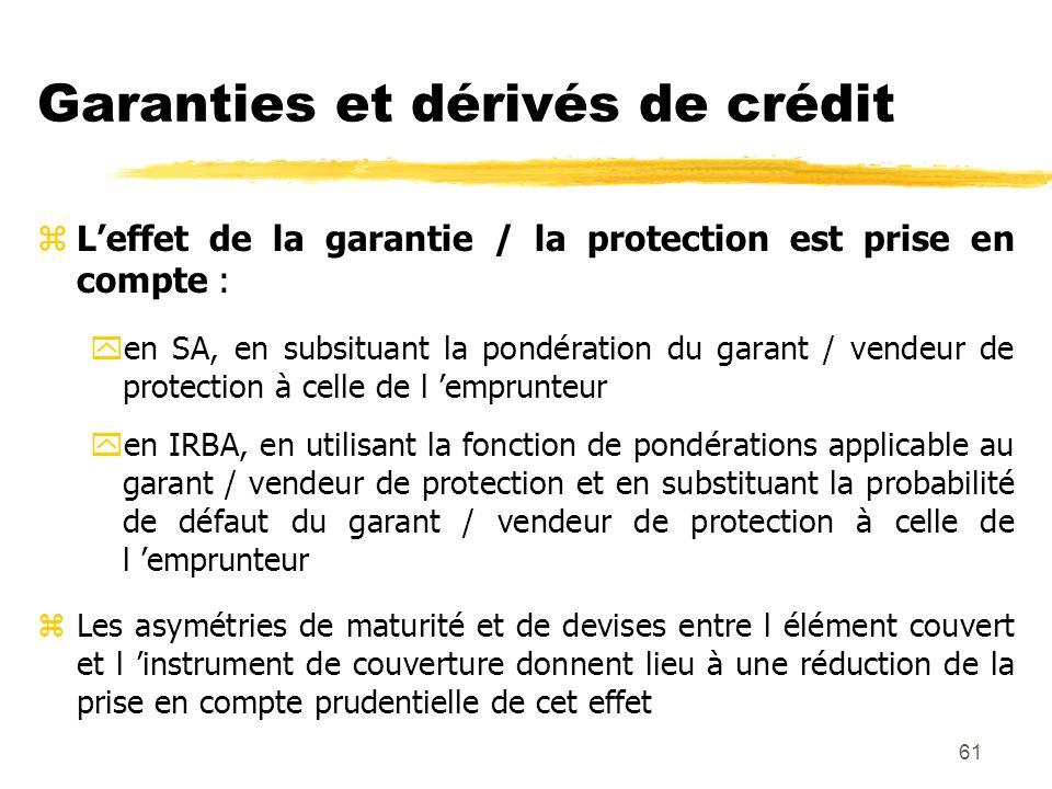 61 Garanties et dérivés de crédit zLeffet de la garantie / la protection est prise en compte : yen SA, en subsituant la pondération du garant / vendeu