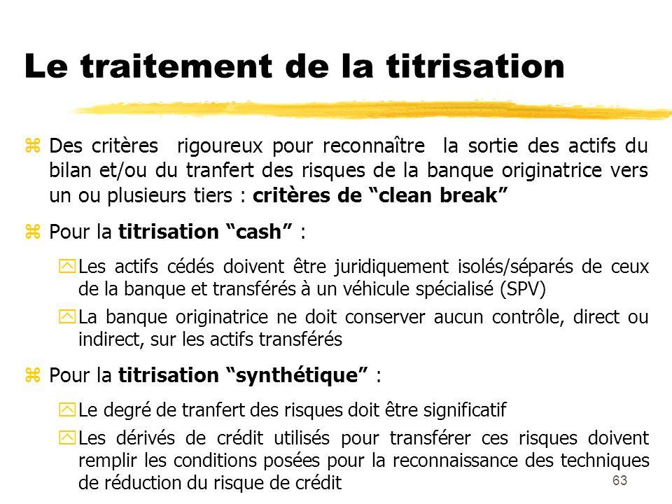 63 Le traitement de la titrisation zDes critères rigoureux pour reconnaître la sortie des actifs du bilan et/ou du tranfert des risques de la banque o