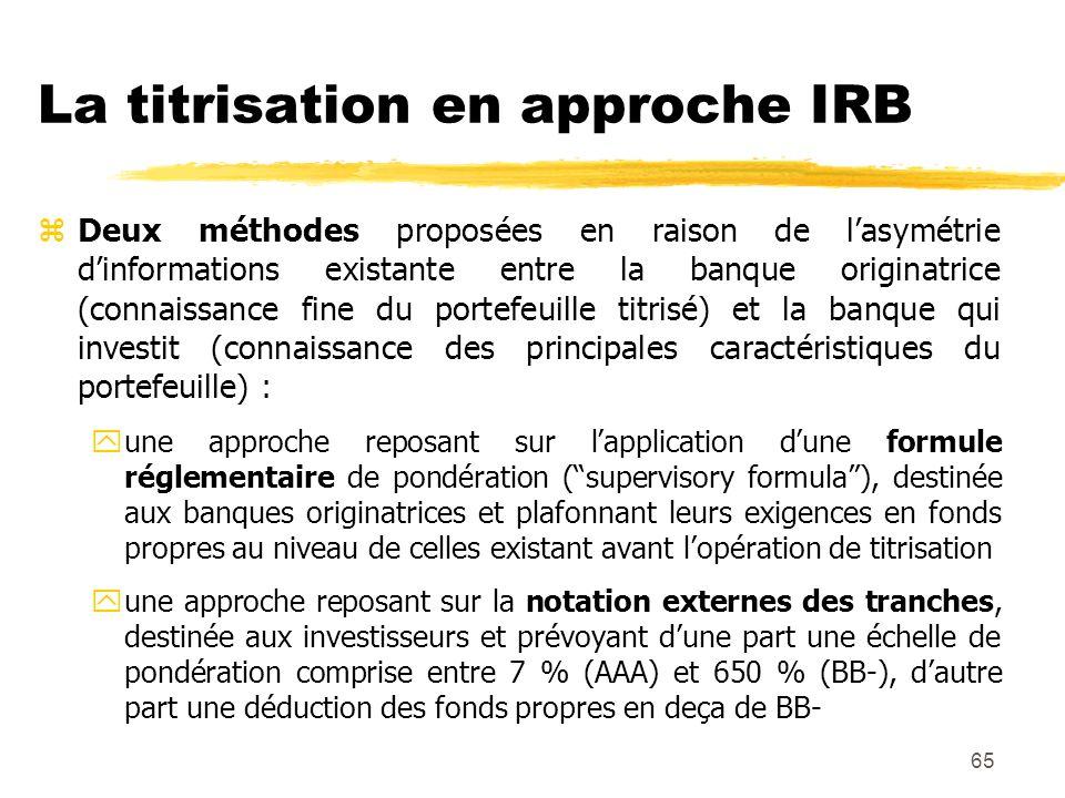 65 La titrisation en approche IRB zDeux méthodes proposées en raison de lasymétrie dinformations existante entre la banque originatrice (connaissance