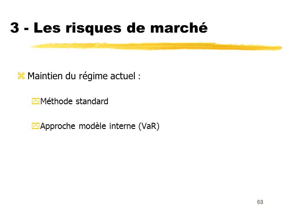 68 3 - Les risques de marché zMaintien du régime actuel : yMéthode standard yApproche modèle interne (VaR)