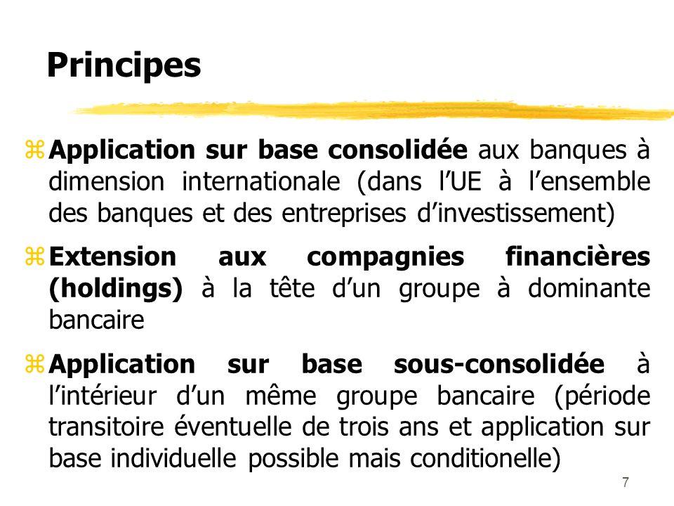 7 Principes zApplication sur base consolidée aux banques à dimension internationale (dans lUE à lensemble des banques et des entreprises dinvestisseme