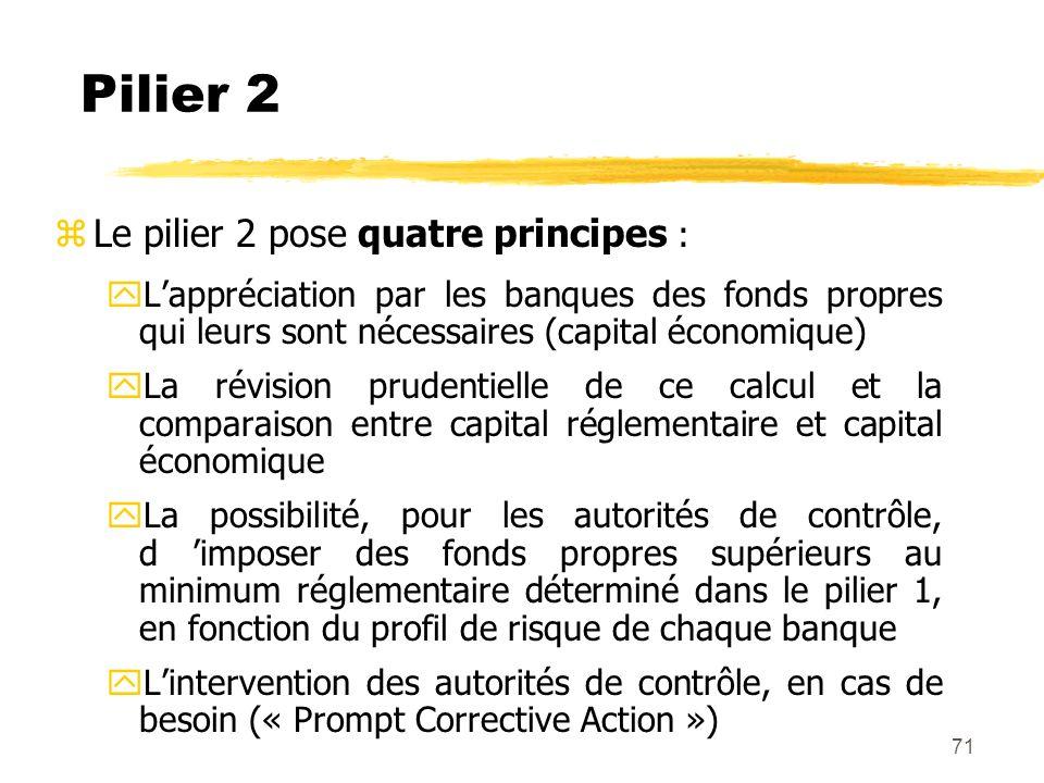 71 Pilier 2 zLe pilier 2 pose quatre principes : yLappréciation par les banques des fonds propres qui leurs sont nécessaires (capital économique) yLa