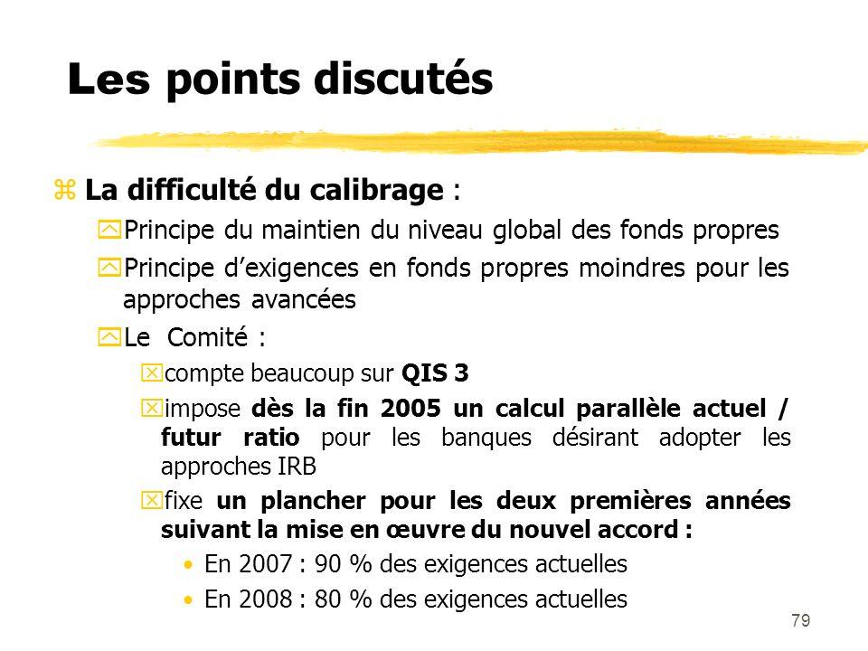79 Les points discutés zLa difficulté du calibrage : yPrincipe du maintien du niveau global des fonds propres yPrincipe dexigences en fonds propres mo