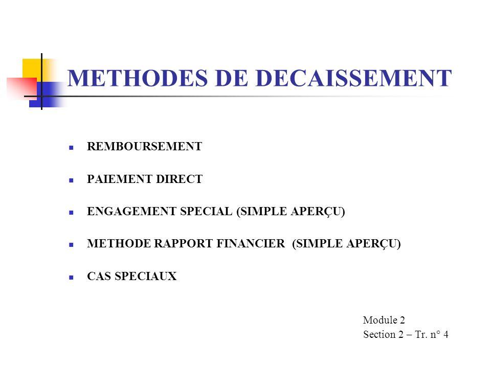 METHODES DE DECAISSEMENT REMBOURSEMENT PAIEMENT DIRECT ENGAGEMENT SPECIAL (SIMPLE APERÇU) METHODE RAPPORT FINANCIER (SIMPLE APERÇU) CAS SPECIAUX Module 2 Section 2 – Tr.