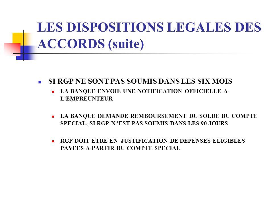 LES DISPOSITIONS LEGALES DES ACCORDS (suite) SI RGP NE SONT PAS SOUMIS DANS LES SIX MOIS LA BANQUE ENVOIE UNE NOTIFICATION OFFICIELLE A L'EMPREUNTEUR