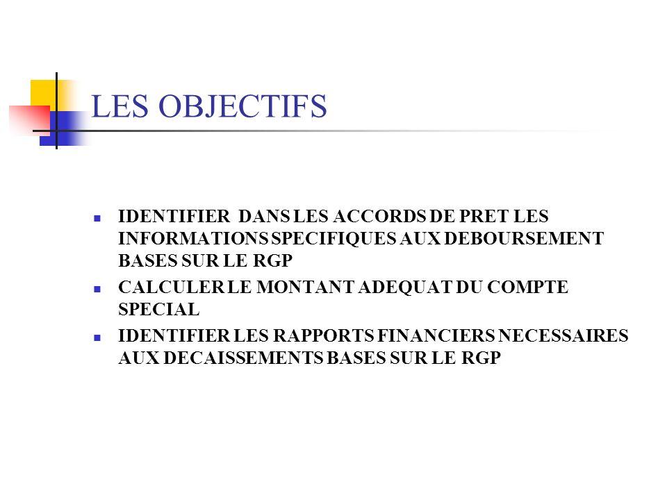 LES OBJECTIFS IDENTIFIER DANS LES ACCORDS DE PRET LES INFORMATIONS SPECIFIQUES AUX DEBOURSEMENT BASES SUR LE RGP CALCULER LE MONTANT ADEQUAT DU COMPTE
