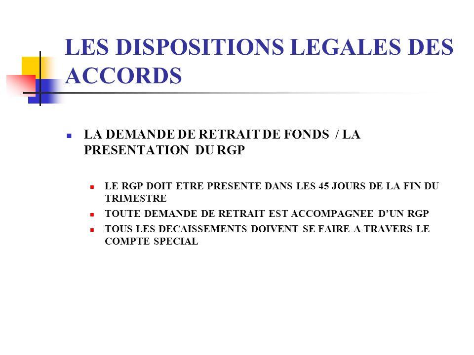 LES DISPOSITIONS LEGALES DES ACCORDS LA DEMANDE DE RETRAIT DE FONDS / LA PRESENTATION DU RGP LE RGP DOIT ETRE PRESENTE DANS LES 45 JOURS DE LA FIN DU