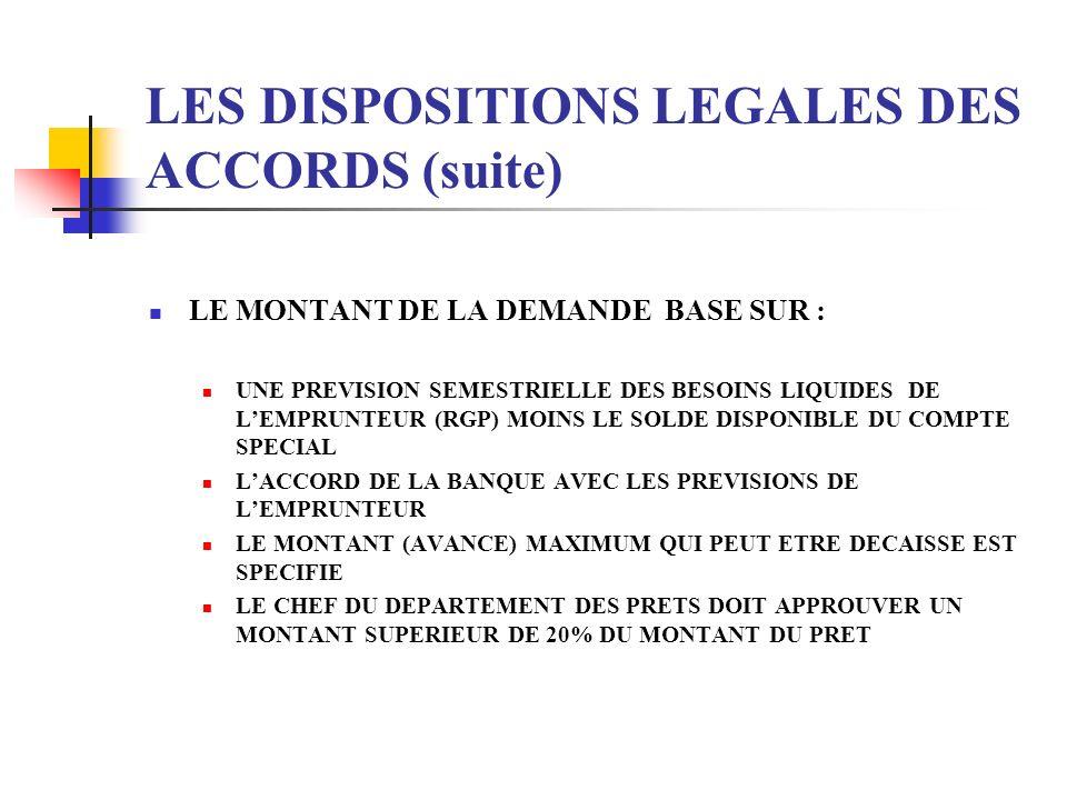LES DISPOSITIONS LEGALES DES ACCORDS (suite) LE MONTANT DE LA DEMANDE BASE SUR : UNE PREVISION SEMESTRIELLE DES BESOINS LIQUIDES DE LEMPRUNTEUR (RGP)