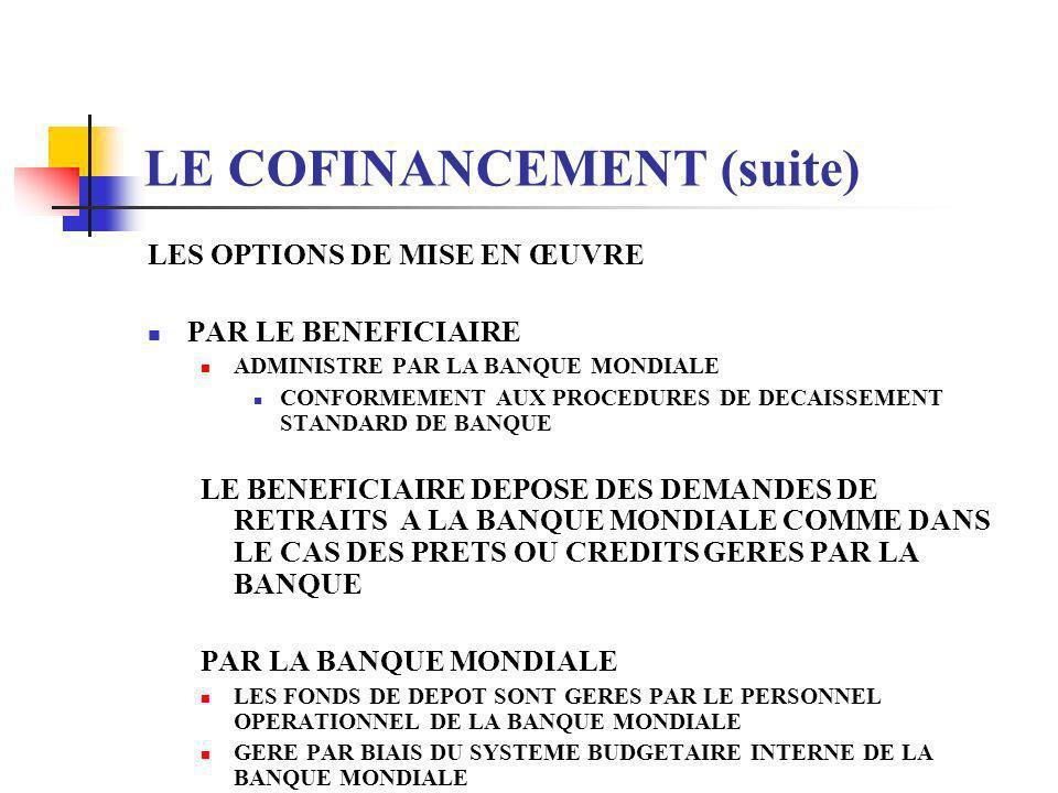LE COFINANCEMENT (suite) LES DIFFERENTS TYPES PEUVENT ETRE CLASSES EN PLUSIEURS CATEGORIES LA SOURCE DU FINANCEMENT LES MODALITES DU PRET COFINANCE LE