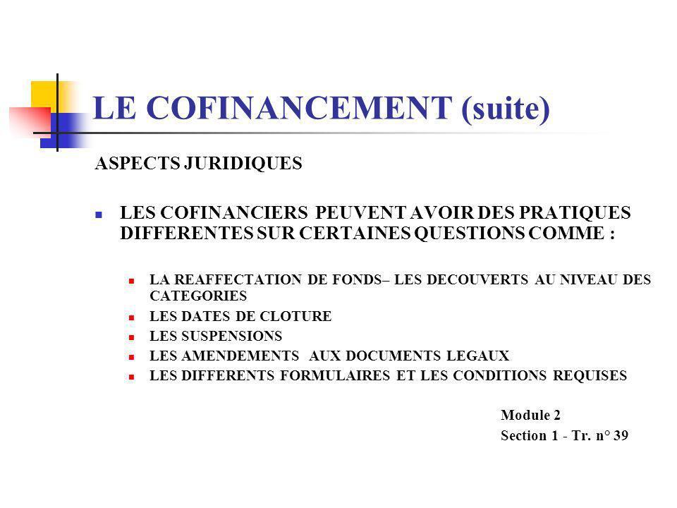 LE COFINANCEMENT (suite) DISPOSITIONS DE COORDINATION ENTRE FINANCIERS LE FINANCEMENT PARALLELE LA BANQUE ET LE PARTENAIRE FINANCIER FINANCENT DIFFERE