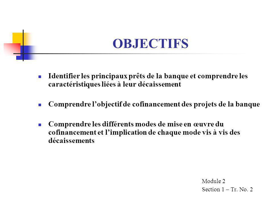 ELIGIBILITE DES DEPENSES (suite) LES ARTICLES DES ACCORDS DE PRET EXIGENT QUE LA BANQUE SASSURE QUE : LES FONDS DU PRET NE SOIENT UTILISES QUE POUR LES OBJECTIFS DEFINIS DANS LE DOSSIER DE PRET LES BIENS ET SERVICES FINANCES SOIENT ACQUIS EN TENANT COMPTE DES PRINCIPES DECONOMIE ET DEFFICACITE LES FONDS NE PEUVENT ETRE RETIRES QUE POUR FAIRE FACE AUX DEPENSES DU PROJET AU FUR ET A MESURE QUELLES ARRIVENT A ECHEANCE Module 2 Section 1 Tr.