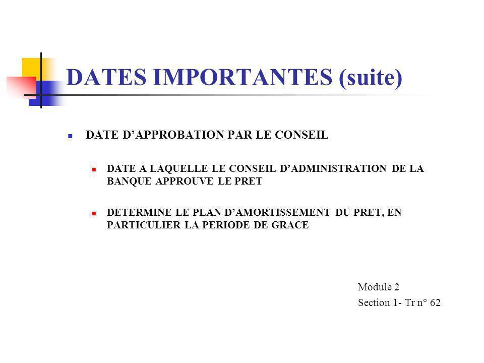 DATES IMPORTANTES DATE DAPPROBATION PAR LE CONSEIL DATE DE SIGNATURE DU PRET DATE DENTREE EN VIGUEUR DATE DE CLOTURE (OPTIONNEL) DATE LIMITE DE SOUMIS