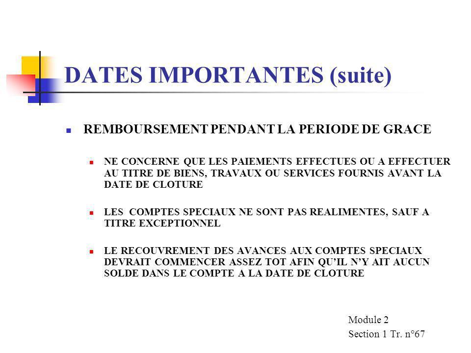 DATES IMPORTANTES (suite) DATE LIMITE DE SOUMISSION DES DEMANDES DATE APRES LAQUELLE AUCUNE DEMANDE DE REMBOURSEMENT NE SERA ACCEPTEE PEUT ETRE PROLON
