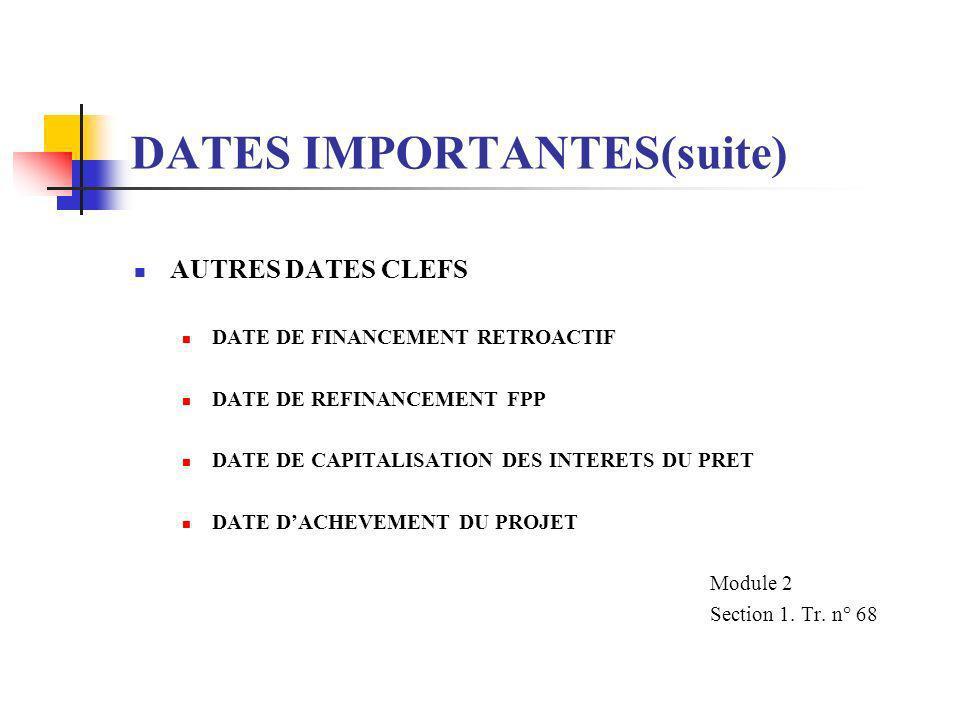 DATES IMPORTANTES (suite) REMBOURSEMENT PENDANT LA PERIODE DE GRACE NE CONCERNE QUE LES PAIEMENTS EFFECTUES OU A EFFECTUER AU TITRE DE BIENS, TRAVAUX