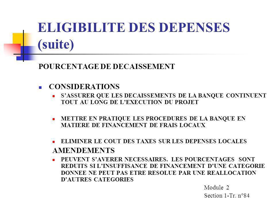ELIGIBILITE DES DEPENSES (suite) POURCENTAGE DE DECAISSEMENT POURCENTAGE DE FINANCEMENT DE LA BANQUE POURCENTAGE TOTAL DES COUTS DU PROJET A FINANCER
