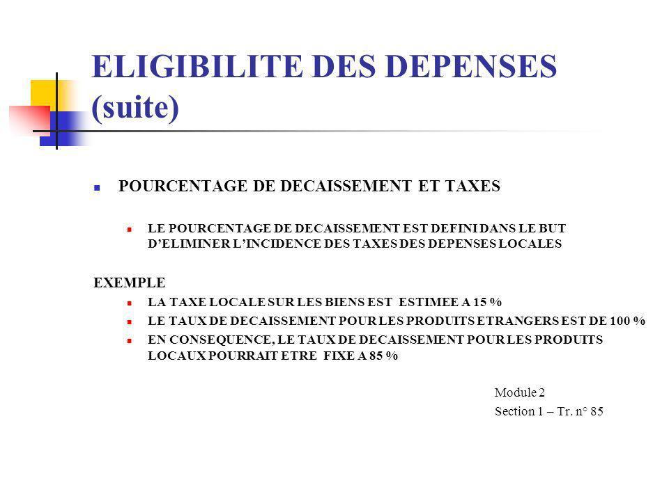 ELIGIBILITE DES DEPENSES (suite) POURCENTAGE DE DECAISSEMENT CONSIDERATIONS SASSURER QUE LES DECAISSEMENTS DE LA BANQUE CONTINUENT TOUT AU LONG DE LEX
