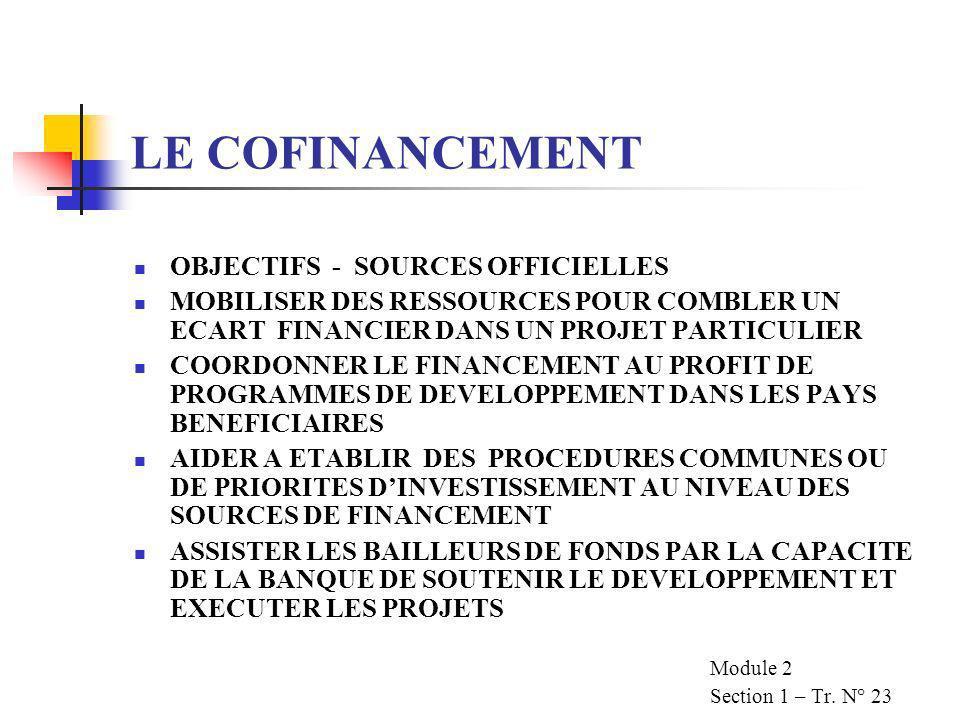 LE COFINANCEMENT OBJECTIFS - SOURCES OFFICIELLES MOBILISER DES RESSOURCES POUR COMBLER UN ECART FINANCIER DANS UN PROJET PARTICULIER COORDONNER LE FINANCEMENT AU PROFIT DE PROGRAMMES DE DEVELOPPEMENT DANS LES PAYS BENEFICIAIRES AIDER A ETABLIR DES PROCEDURES COMMUNES OU DE PRIORITES DINVESTISSEMENT AU NIVEAU DES SOURCES DE FINANCEMENT ASSISTER LES BAILLEURS DE FONDS PAR LA CAPACITE DE LA BANQUE DE SOUTENIR LE DEVELOPPEMENT ET EXECUTER LES PROJETS Module 2 Section 1 – Tr.