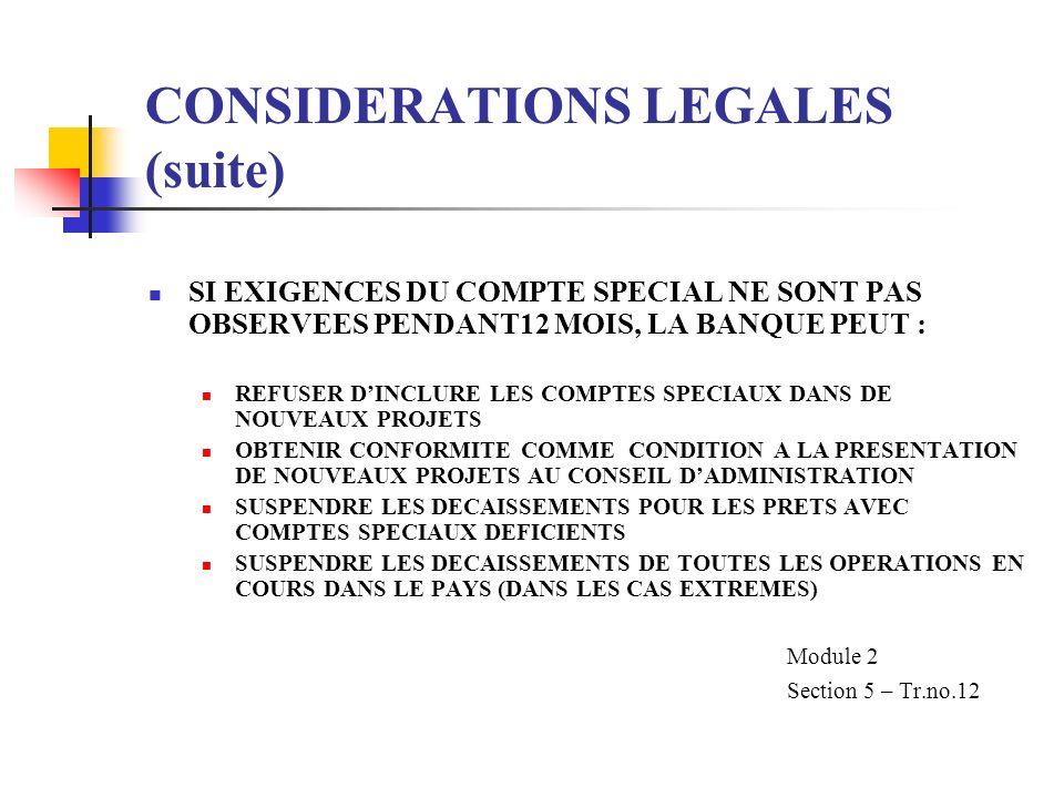 CONSIDERATIONS LEGALES (suite) SI EXIGENCES DU COMPTE SPECIAL NE SONT PAS OBSERVEES PENDANT12 MOIS, LA BANQUE PEUT : REFUSER DINCLURE LES COMPTES SPEC
