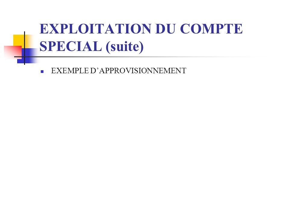 EXPLOITATION DU COMPTE SPECIAL (suite) EXEMPLE DAPPROVISIONNEMENT