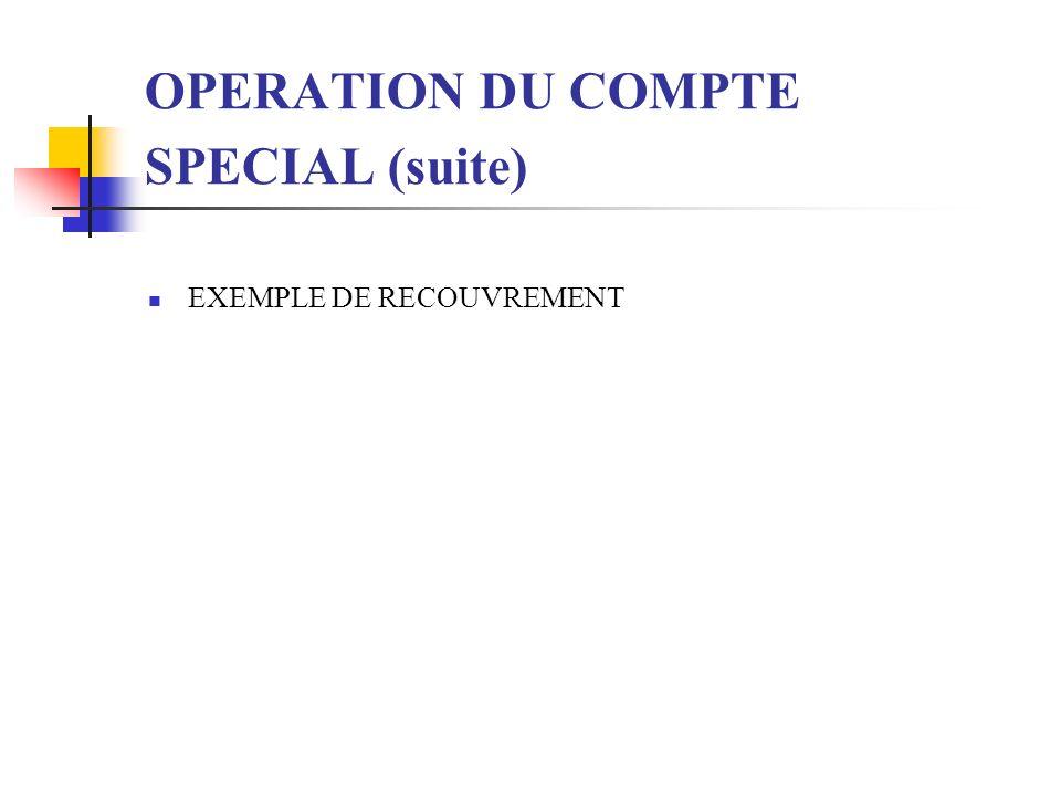 OPERATION DU COMPTE SPECIAL (suite) EXEMPLE DE RECOUVREMENT
