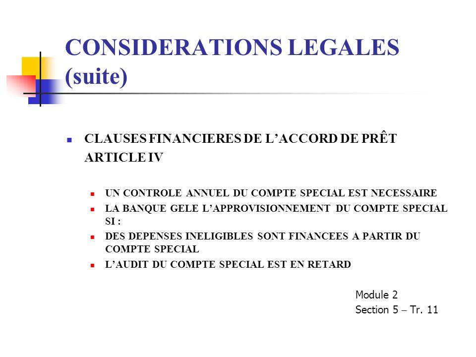 CONSIDERATIONS LEGALES (suite) CLAUSES FINANCIERES DE LACCORD DE PRÊT ARTICLE IV UN CONTROLE ANNUEL DU COMPTE SPECIAL EST NECESSAIRE LA BANQUE GELE LA