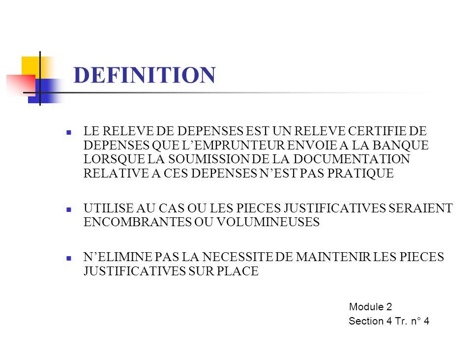 OBJECTIFS DES RD LIMITE LE VOLUME DE DOCUMENTS ENVOYES A LA BANQUE PERMET UN CONTROLE PLUS STRICTE DES DEPENSES IMPORTANTES REDUIT LE TEMPS NECESSAIRE POUR TRAITER LES DEMANDES LA MOYENNE DU TEMPS DE TRAITEMENT EN 1982 ETAIT DE 23 JOURS LA MOYENNE DU TEMPS DE TRAITEMENT EN 2001 ETAIT DE 9 JOURS A PARTIR DE LA DATE DE RECEPTION DE LA DEMANDE A WASHINGTON JUSQU A LA DATE OU LES FONDS SONT DEBITES DU COMPTE DE PRET Module 2 Section 4 Tr.
