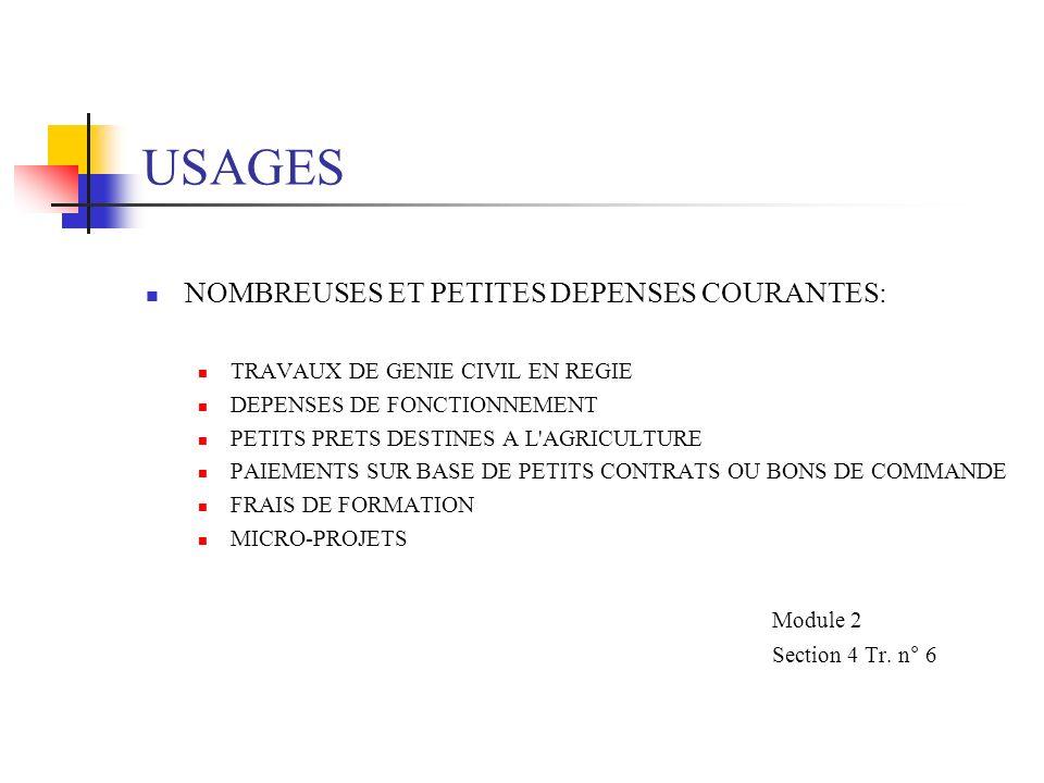 USAGES (suite) PROCEDURE DE REMBOURSEMENT UTILISEE UNIQUEMENT POUR REMBOURSEMENT AU COMPTE DE PROJET DE L EMPREUNTEUR REMBOURSEMENT DU COMPTE SPECIAL (CS) LES DEPENSES A L ETRANGER OU LOCALES SONT ACCEPTEES Module 2 Section 4 Tr.