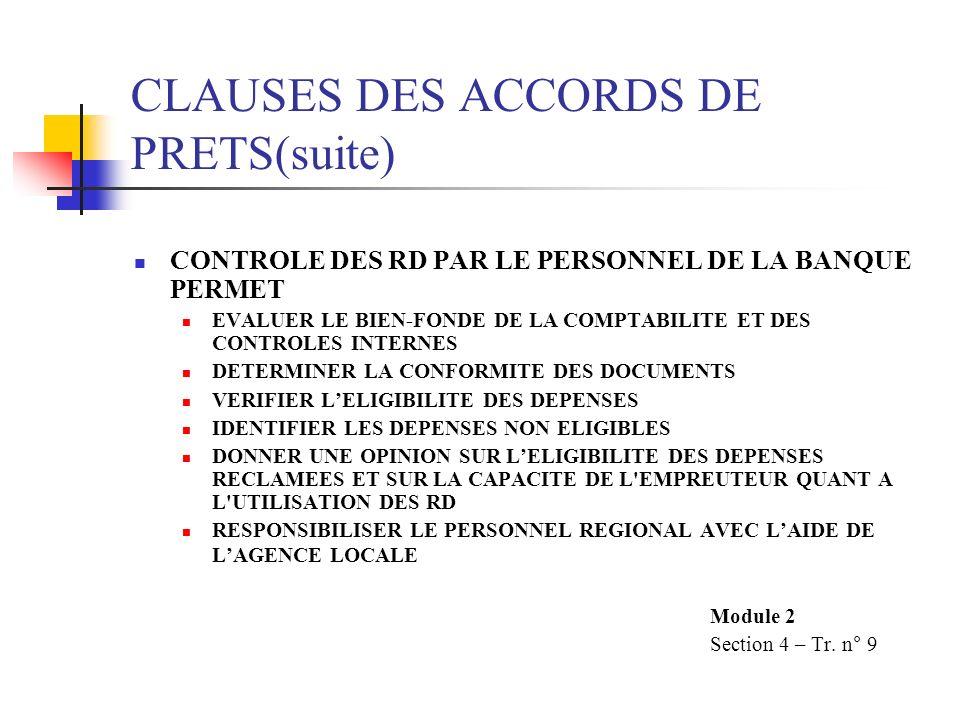 CLAUSES DES ACCORDS DE PRETS(suite) CONTROLE DES RD PAR LE PERSONNEL DE LA BANQUE PERMET EVALUER LE BIEN-FONDE DE LA COMPTABILITE ET DES CONTROLES INT