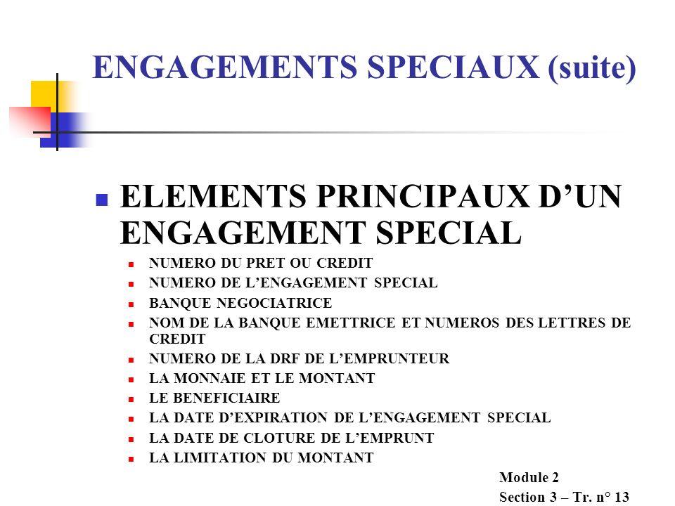 ENGAGEMENTS SPECIAUX (suite) EMPRUNTEUR FOURNISSEUR BANQUE MONDIALE BANQUE EMETTRICE BANQUE NEGOCIATRICE 2.DEMANDE DES 7. PRESENTER LETTRES DE CREDIT