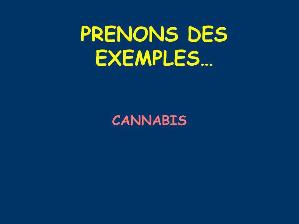 PRENONS DES EXEMPLES… CANNABIS