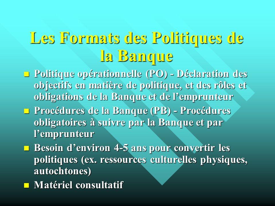 Les Formats des Politiques de la Banque Politique opérationnelle (PO) - Déclaration des objectifs en matière de politique, et des rôles et obligations