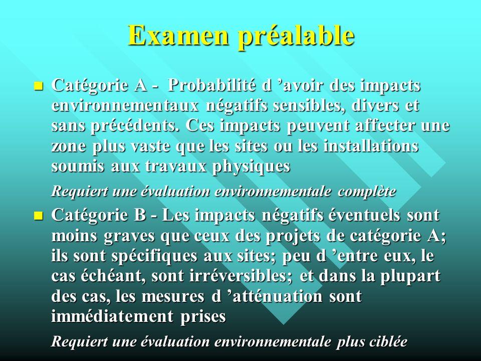 Examen préalable Catégorie A - Probabilité d avoir des impacts environnementaux négatifs sensibles, divers et sans précédents. Ces impacts peuvent aff