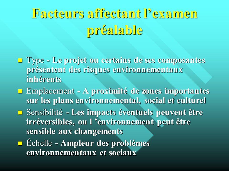 Facteurs affectant lexamen préalable Type - Le projet ou certains de ses composantes présentent des risques environnementaux inhérents Type - Le proje