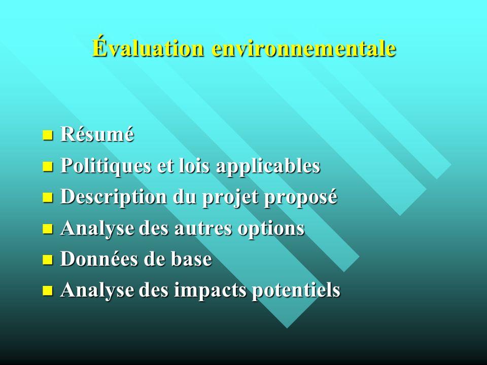 Évaluation environnementale Résumé Résumé Politiques et lois applicables Politiques et lois applicables Description du projet proposé Description du p