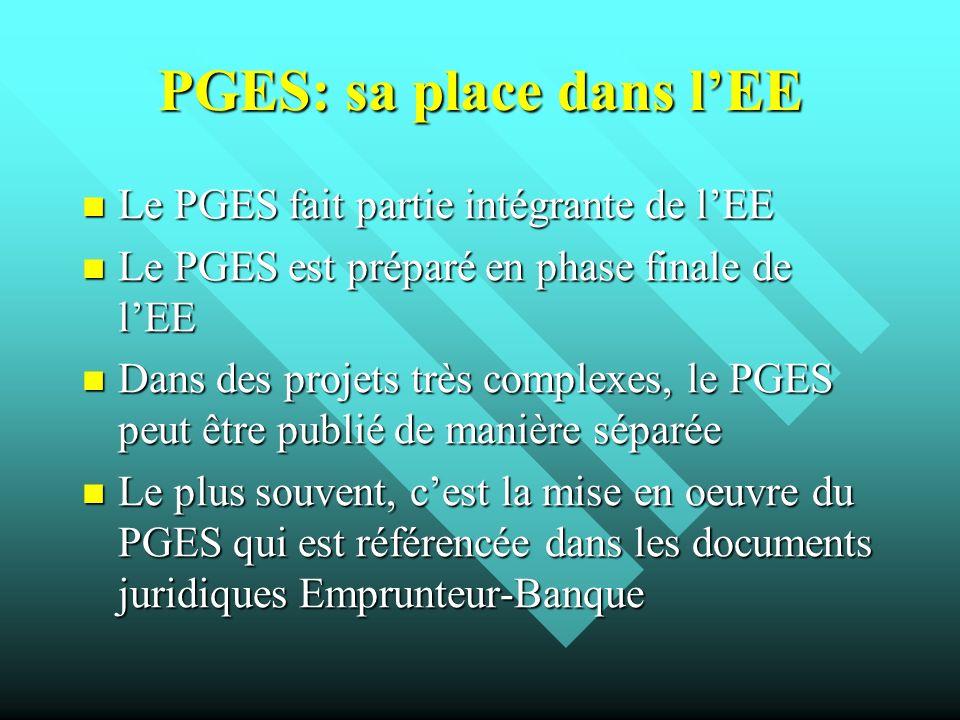 PGES: sa place dans lEE Le PGES fait partie intégrante de lEE Le PGES fait partie intégrante de lEE Le PGES est préparé en phase finale de lEE Le PGES