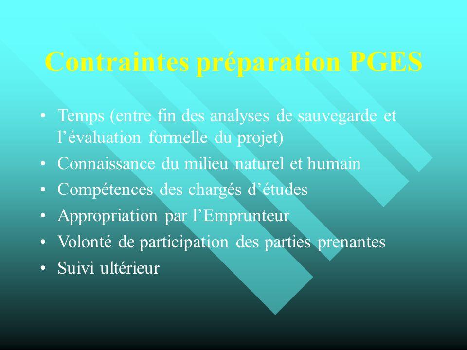 Contraintes préparation PGES Temps (entre fin des analyses de sauvegarde et lévaluation formelle du projet) Connaissance du milieu naturel et humain C
