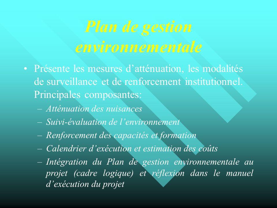 Plan de gestion environnementale Présente les mesures datténuation, les modalités de surveillance et de renforcement institutionnel. Principales compo