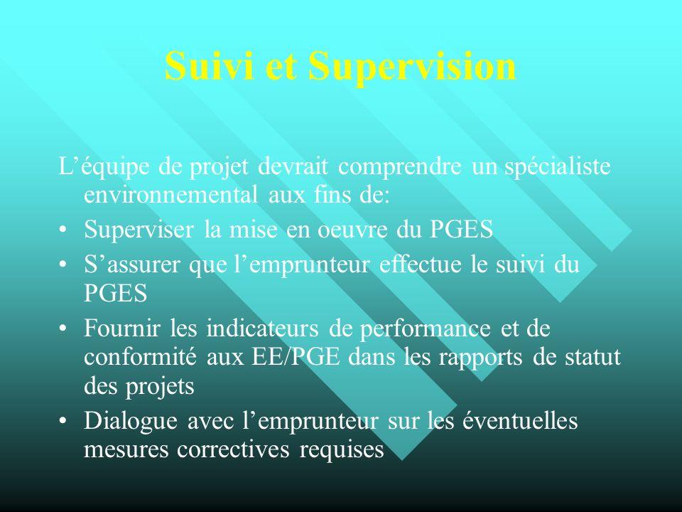Suivi et Supervision Léquipe de projet devrait comprendre un spécialiste environnemental aux fins de: Superviser la mise en oeuvre du PGES Sassurer qu
