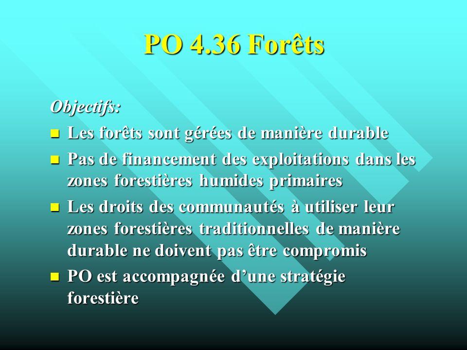 PO 4.36 Forêts Objectifs: Les forêts sont gérées de manière durable Les forêts sont gérées de manière durable Pas de financement des exploitations dan