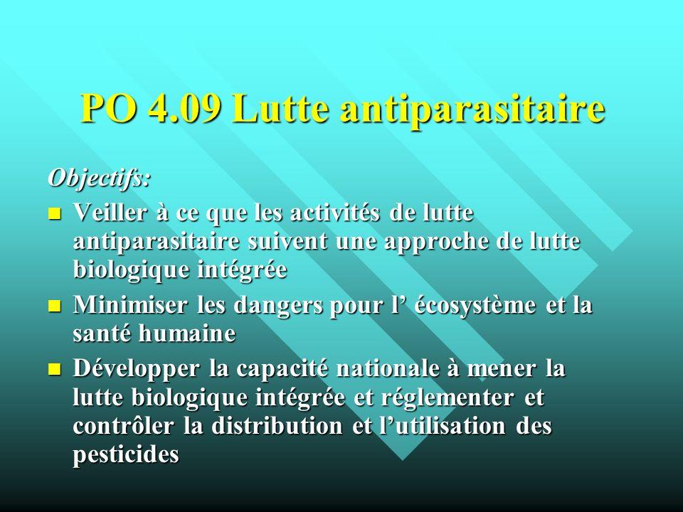PO 4.09 Lutte antiparasitaire Objectifs: Veiller à ce que les activités de lutte antiparasitaire suivent une approche de lutte biologique intégrée Vei