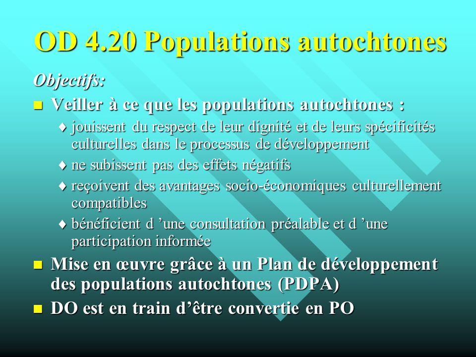 OD 4.20 Populations autochtones Objectifs: Veiller à ce que les populations autochtones : Veiller à ce que les populations autochtones : jouissent du