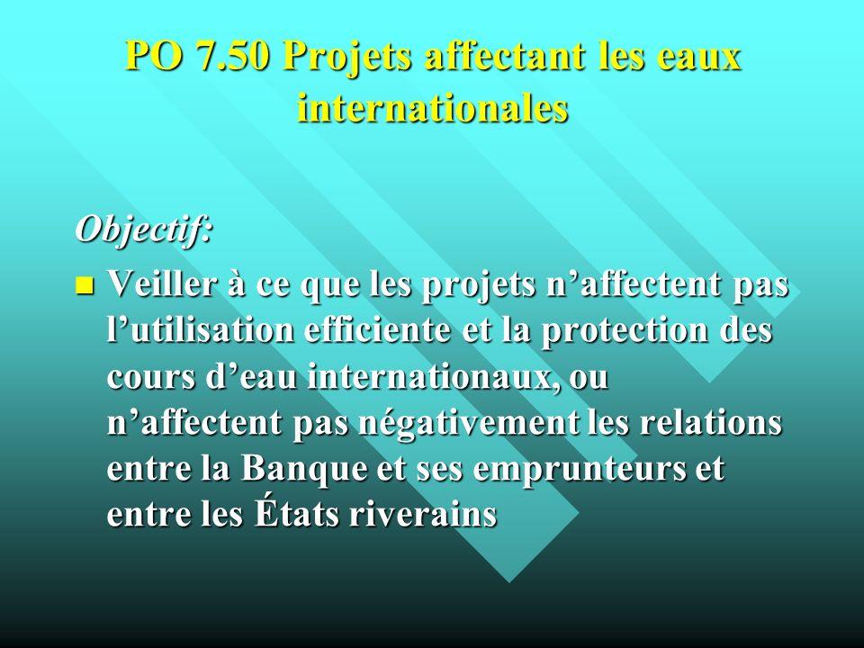 PO 7.50 Projets affectant les eaux internationales Objectif: Veiller à ce que les projets naffectent pas lutilisation efficiente et la protection des